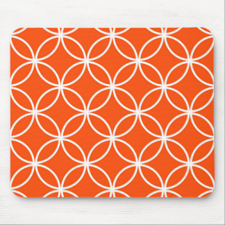 Modern Design Overlapping Circles in Orange Mouse Pad