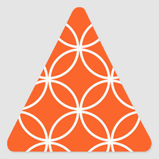 Modern Design Overlapping Circles in Orange Triangle Sticker