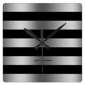 Modern Design Silver Stripes Over Black Background