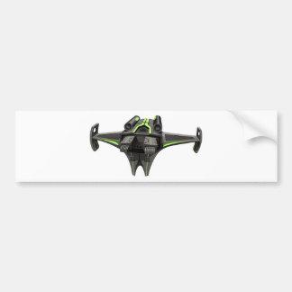Modern design spaceship on white bumper sticker