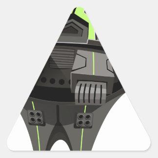 Modern design spaceship on white triangle sticker