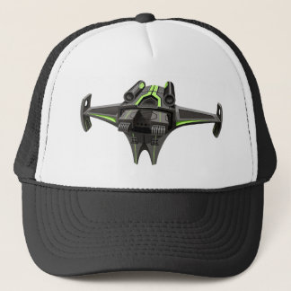 Modern design spaceship on white trucker hat