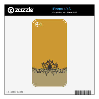 Modern  Design with Lotus  Flower Drawing iPhone 4S Decal