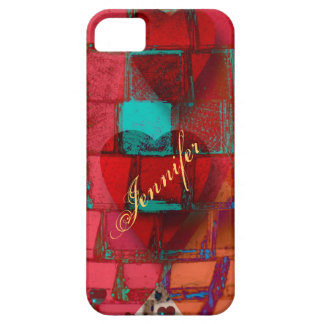 Modern design with Mosaic patterns, Hearts & Name iPhone SE/5/5s Case