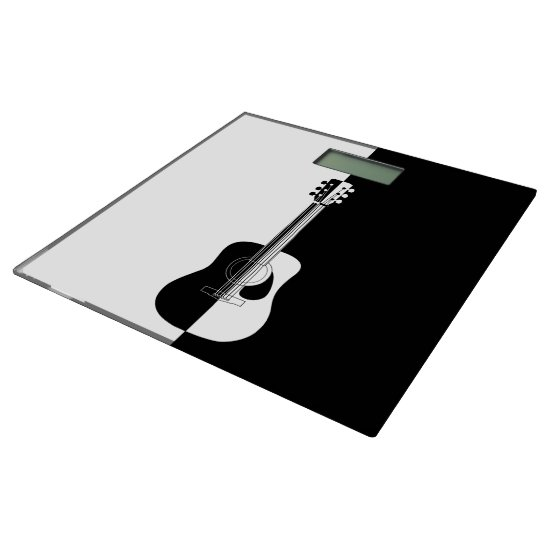 Modern designer black and white guitar bathroom scale