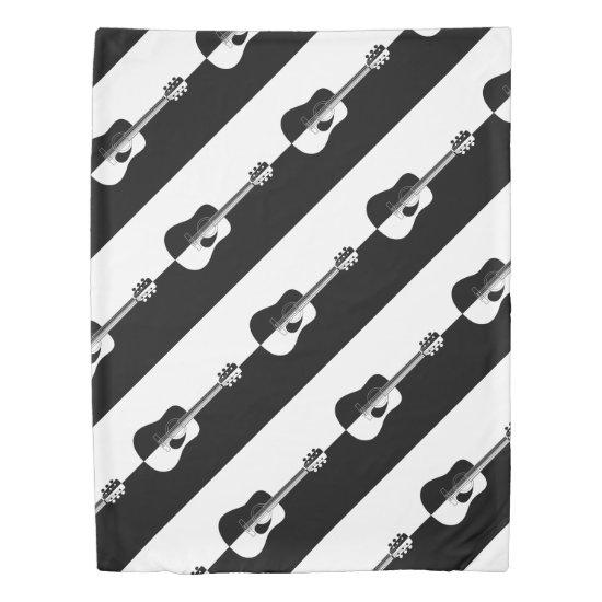Modern designer black and white guitar pattern duvet cover