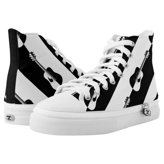 Modern designer black and white guitar sneakers
