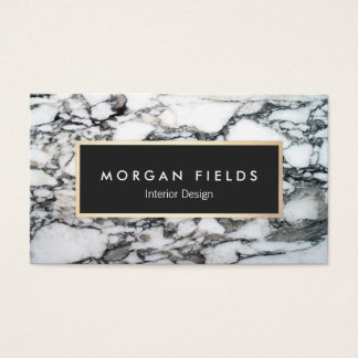 Modern Designer Black and White Marble Stone Business Card