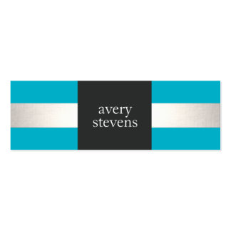Modern Designer Silver Striped Turquoise and Black Double-Sided Mini Business Cards (Pack Of 20)