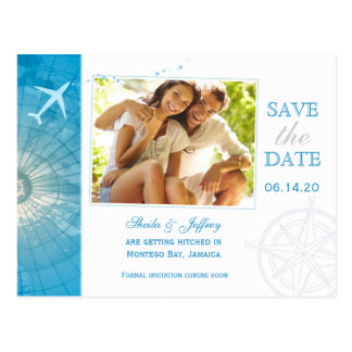 Modern Destination Wedding Save the Date Postcards