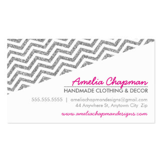 MODERN diagonal chevron faux silver glitter pink Double-Sided Standard Business Cards (Pack Of 100)