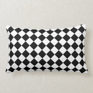 Modern Diamond Black and White Checkers Lumbar Pillow