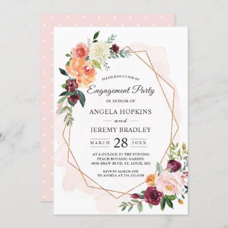 Modern Diamond Frame Blush Floral Engagement Party Invitation