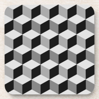 Modern Diamond Grid, Silver, Dark Gray, and Black Coaster
