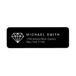 Modern Diamond Icon Classy Black and White Label