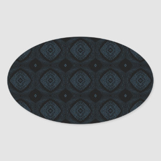 Modern Diamond Pattern Black & Blue Oval Stickers
