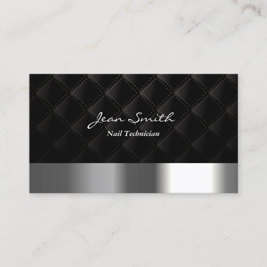 Modern Diamond Quilt Nail Technician Business Card