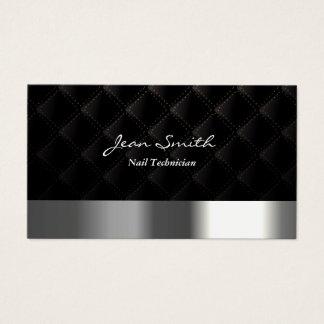 Modern Diamond Quilt Nail Technician Business Card