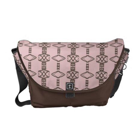Modern diamond shape in brown & dusty rose pink messenger bag