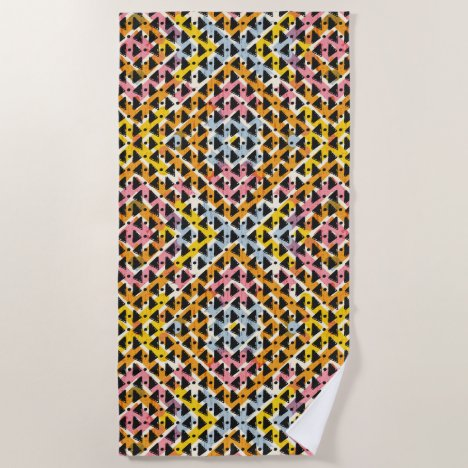 Modern diamond weave black pink blue beach towel