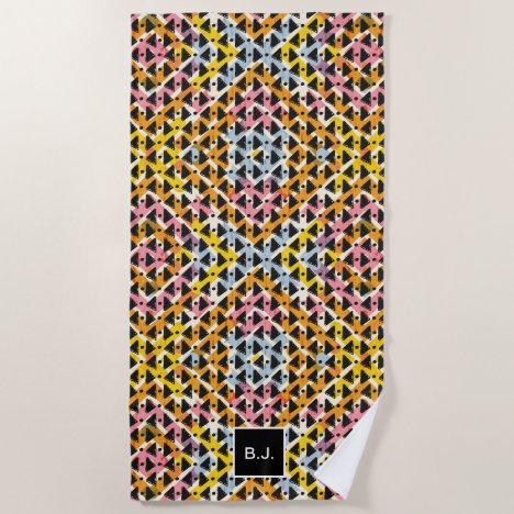 Modern diamond weave black pink blue monogrammed beach towel