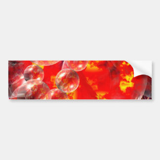 Modern Digital Abstract Balls & Fire Bumper Sticker