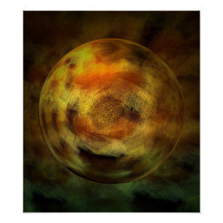 Modern Digital Abstract Sphere Print Poster