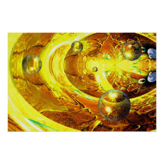 Modern Digital Abstract Spheres Print Poster