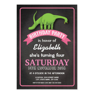 Modern Dinosaur Girls Chalkboard Birthday Card