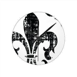 Modern distressed black white fleurdelis clock