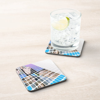 Modern Diversity People and Faces Collage Coaster