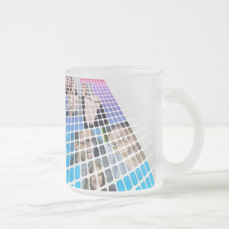 Modern Diversity People and Faces Collage Frosted Glass Coffee Mug