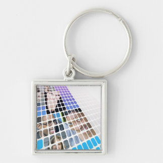Modern Diversity People and Faces Collage Keychain