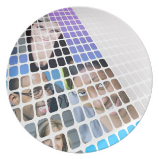 Modern Diversity People and Faces Collage Melamine Plate