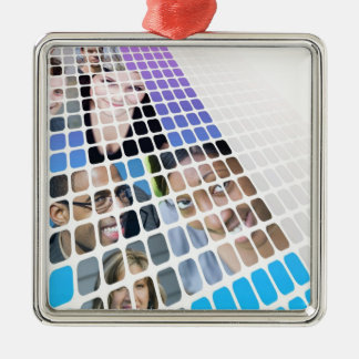 Modern Diversity People and Faces Collage Metal Ornament