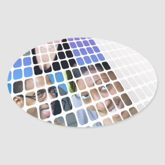 Modern Diversity People and Faces Collage Oval Sticker