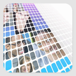 Modern Diversity People and Faces Collage Square Sticker