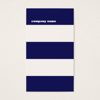 Modern DJ Hip Navy Blue and White Stripes Business Card