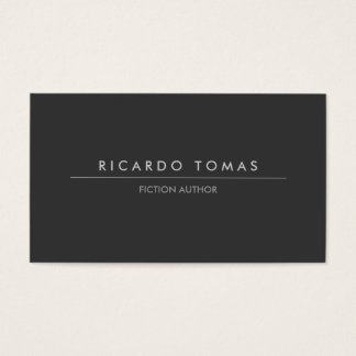 MODERN DK GRAY BUSINESS CARD FOR AUTHORS & WRITERS