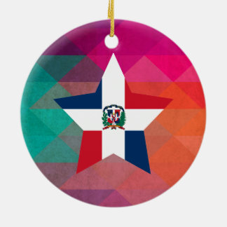 Modern Dominican Republic Flag Ceramic Ornament