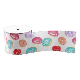 Modern donuts watercolor hand painted food pattern grosgrain ribbon