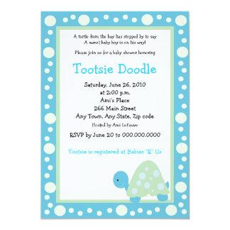 Modern Dot Turtle 5x7 Aqua/Green Baby Shower Card