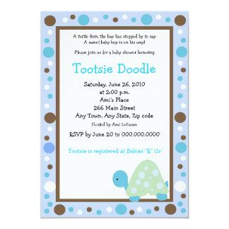Modern Dot Turtle 5x7 Blue/Brown Baby Shower Card
