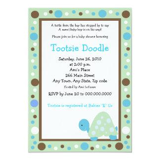 Modern Dot Turtle 5x7 Green/Blue Baby Shower Card