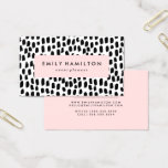 "Modern Dots | Business Card<br><div class=""desc"">Stylish modern business card with a chic black and white brush dot pattern,  blush pink accents,  and placeholders for your custom text. Other colors available.</div>"