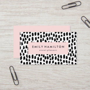 Pink business cards zazzle modern dots business card reheart Images