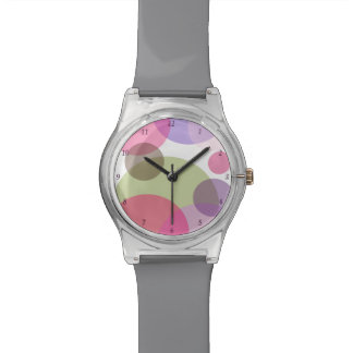 Modern Dots in Pink, Purple and Green Wrist Watches