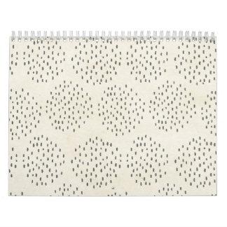 Modern Dots Ivory & Black Tiny Dot Print Calendar