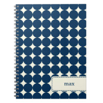 Modern Dots Personalized Notebook - Navy