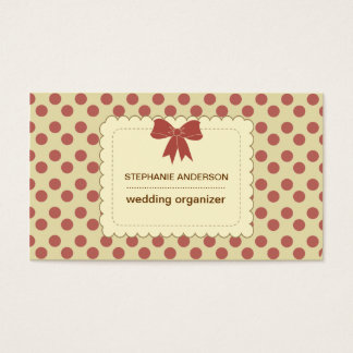 Modern dots ribbon bow business business card